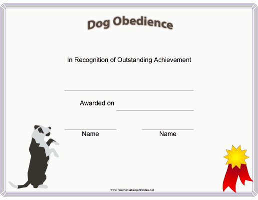 Dog Training Certificate Template Best Of This Printable Certificate Of Dog Training or Achievement