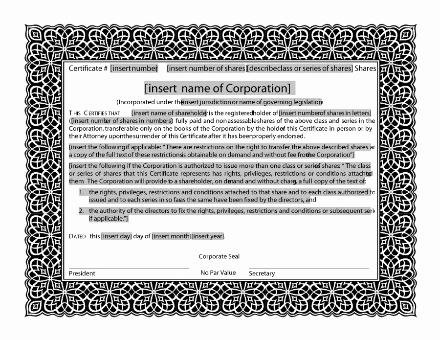 Download Stock Certificate Template New 41 Free Stock Certificate Templates Word Pdf Free