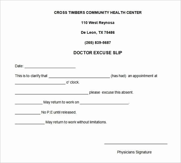 Dr Notes for Work Template Lovely 5 Doctors Note for Work Templates Free Sample Templates