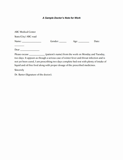 Dr Notes for Work Template Luxury Doctors Note for Work Template Download Create Fill and