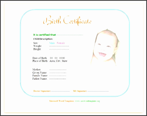 Editable Birth Certificate Template Awesome 10 Editable Birth Certificate Template Sampletemplatess