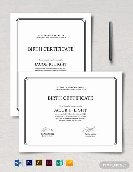 Editable Birth Certificate Template New Birth Certificate Template 38 Word Pdf Psd Ai