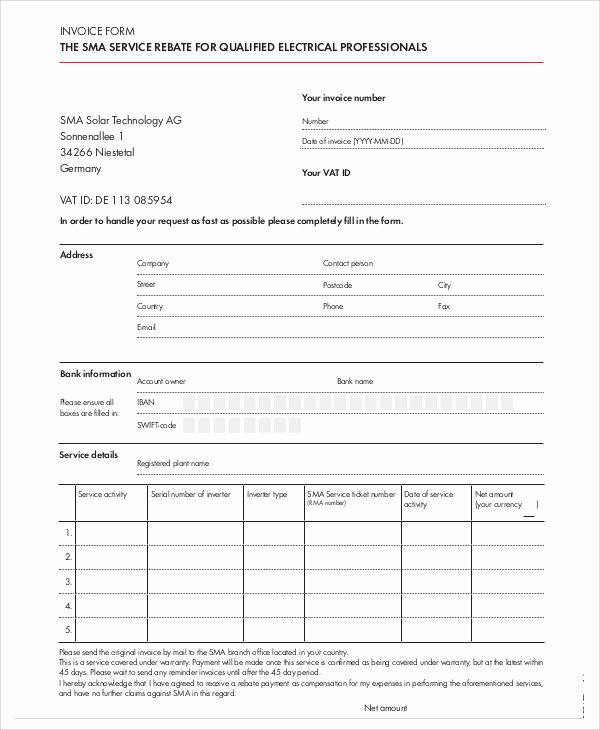 Electrical Contractor Invoice Template Awesome 5 Electrical Invoice Templates Free Sample Example