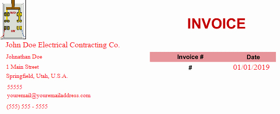 Electrical Contractor Invoice Template Elegant Electrical Contractor Invoice Template Lineinvoice