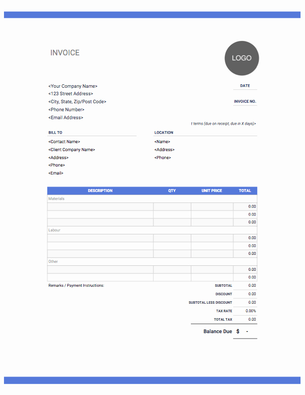 Electrical Contractor Invoice Template Inspirational Construction Invoice Template