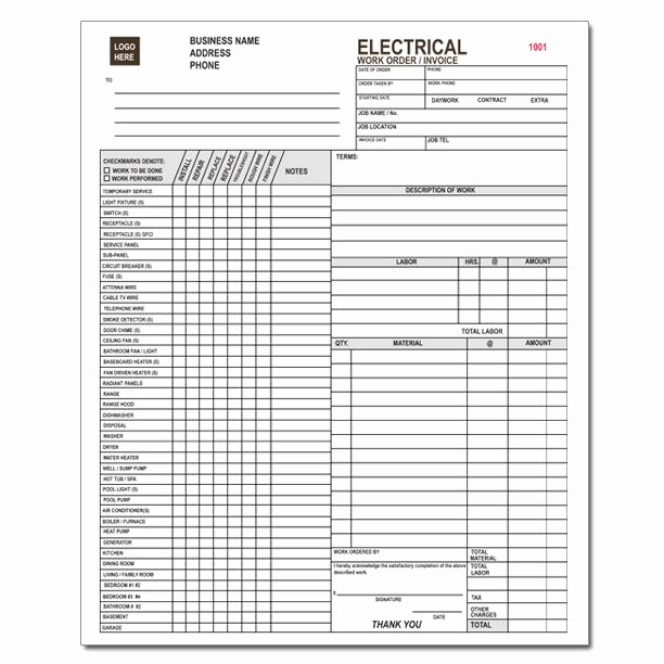 Electrical Contractor Invoice Template Lovely Electrical Work order Invoice forms and Receipt Printing