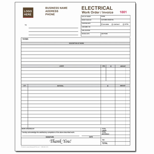 Electrical Contractor Invoice Template Luxury Electrical Contractor forms Custom Carbonless orders