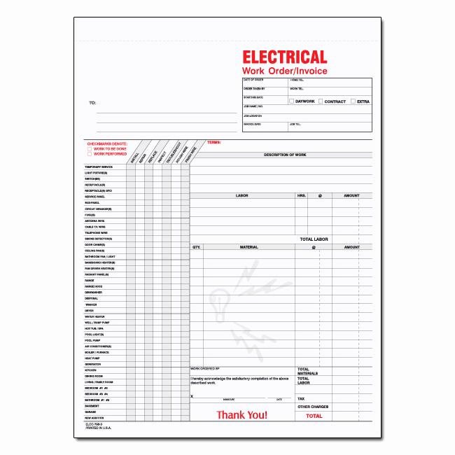 Electrical Contractor Invoice Template New Electrical Contractor forms Custom Carbonless orders
