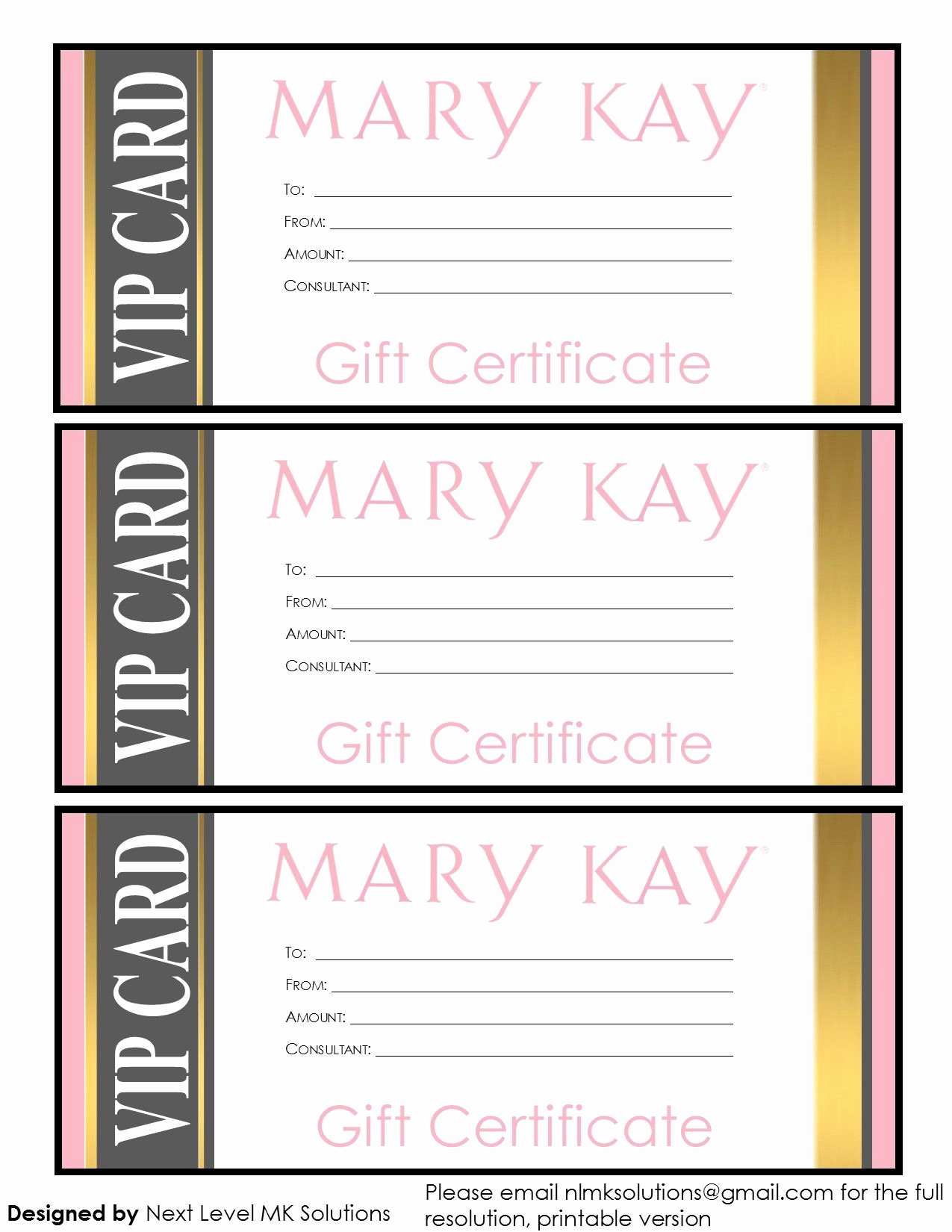 Email Gift Certificate Template Luxury Mary Kay T Certificates Please Email for the Full Pdf