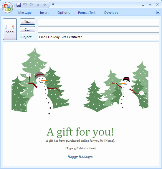 Email Gift Certificate Template New E Mail Message Holiday Gift Certificate Free