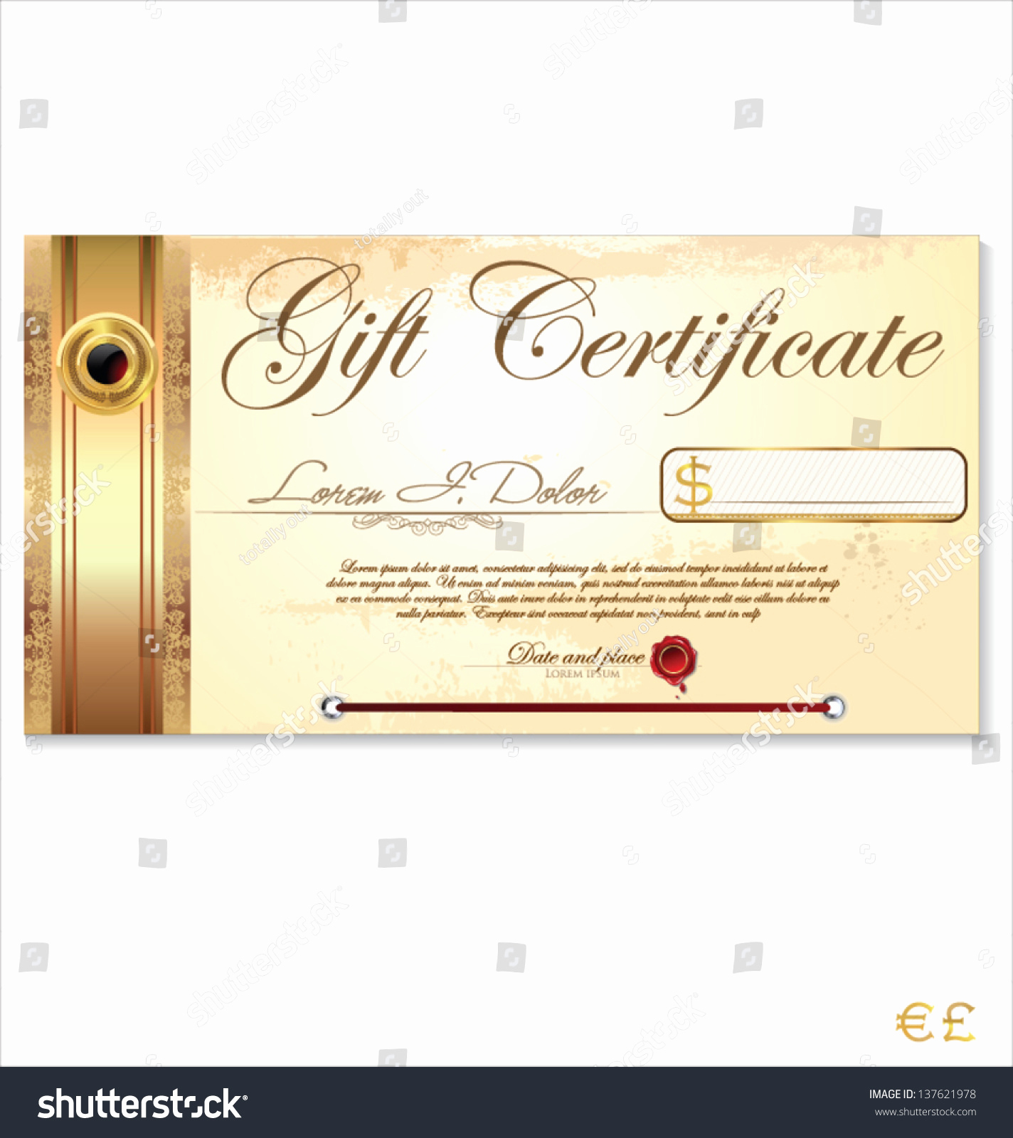 Email Gift Certificate Template Unique Luxury Gift Certificate Template Stock Vector Illustration