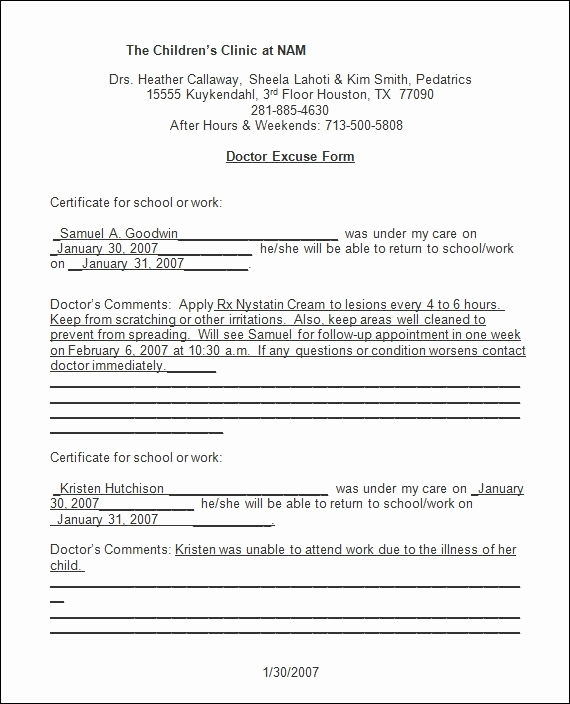 Emergency Room Doctor Note Template Inspirational Urgent Care Doctors Note Template