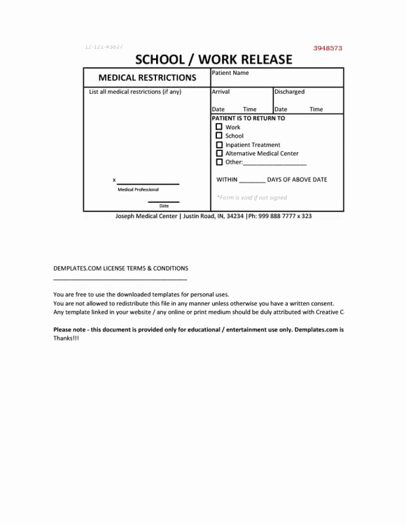 Emergency Room Doctor Note Template New Fake Doctors Note
