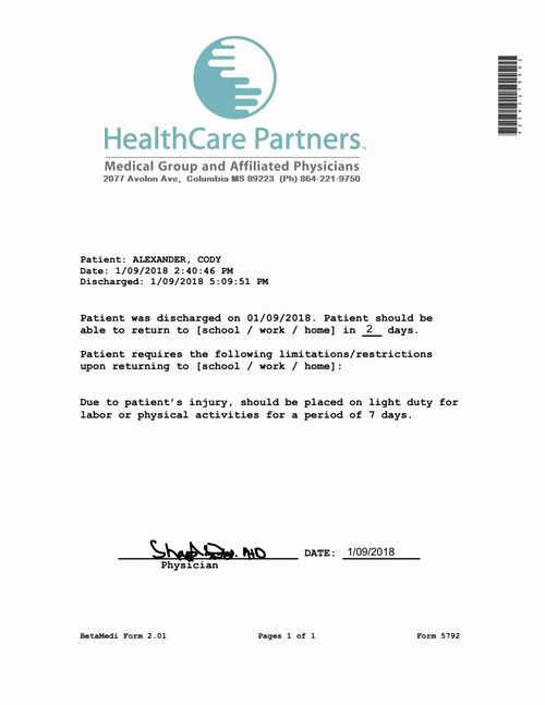 Emergency Room Doctor Note Template Unique Medical Note Doctor Hmo Clinic Fake Excuse
