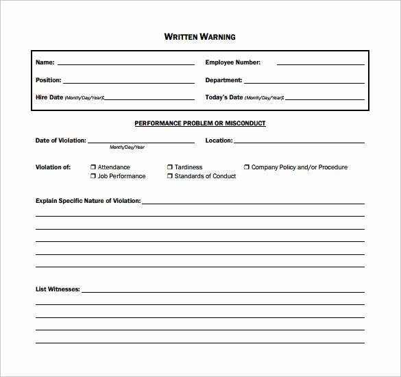 Employee Warning Notice Template Word Awesome Employee Written Warning Template