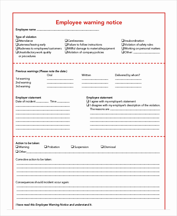 Employee Warning Notice Template Word Beautiful 7 Employee Warning Notice Templates Pdf Google Docs