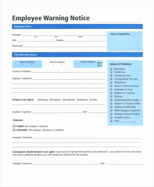 Employee Warning Notice Template Word Beautiful Employee Warning Notice