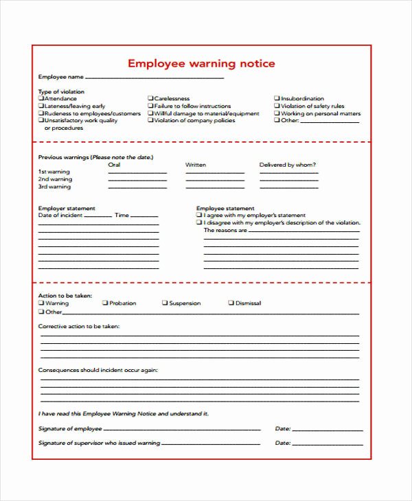 Employee Warning Notice Template Word Beautiful Employment Notice Templates 4 Free Word Pdf format