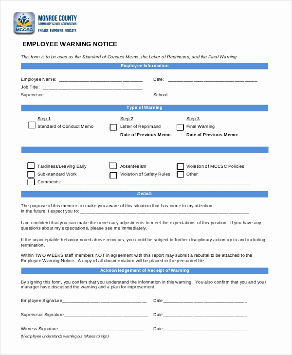 Employee Warning Notice Template Word Best Of 12 Printable Employee Warning Notice Templates Google