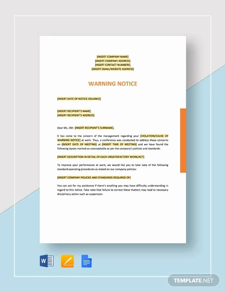 Employee Warning Notice Template Word Fresh 10 Employee Warning Notice Samples Google Docs Ms Word
