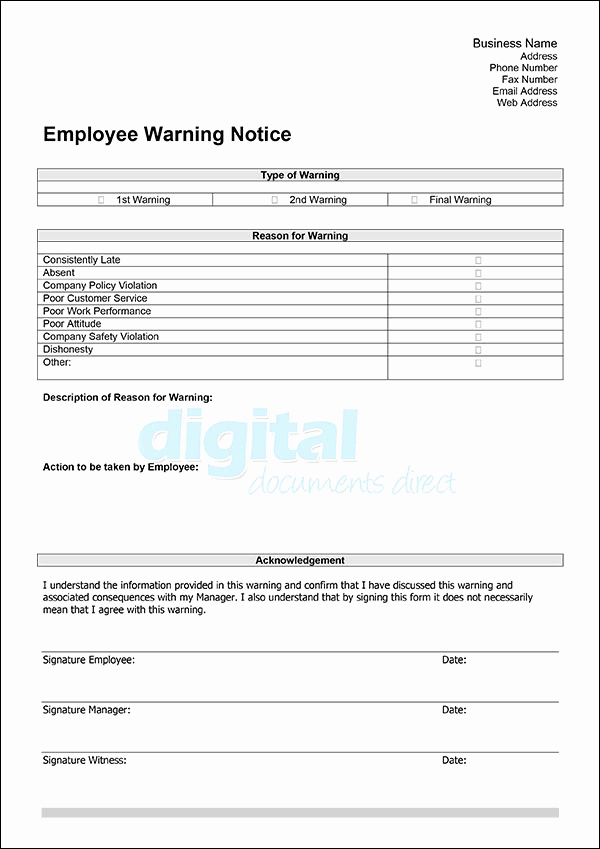 Employee Warning Notice Template Word Fresh Employee Warning Template