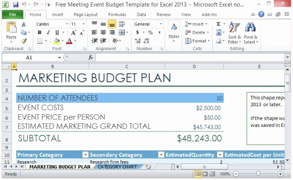 Event Budget Proposal Template Beautiful Free Meeting event Bud Template for Excel 2013
