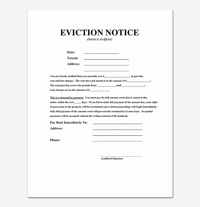 Eviction Notice Letter Template Best Of Eviction Notice 24 Sample Letters & Templates