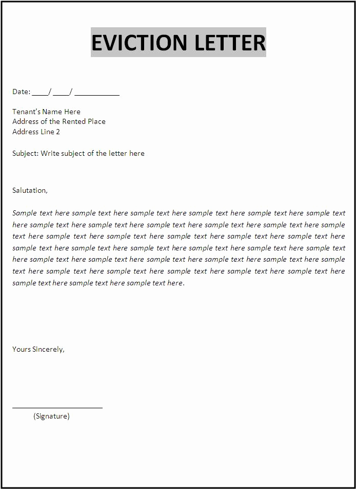 Eviction Notice Letter Template Elegant 10 Eviction Letter Samples
