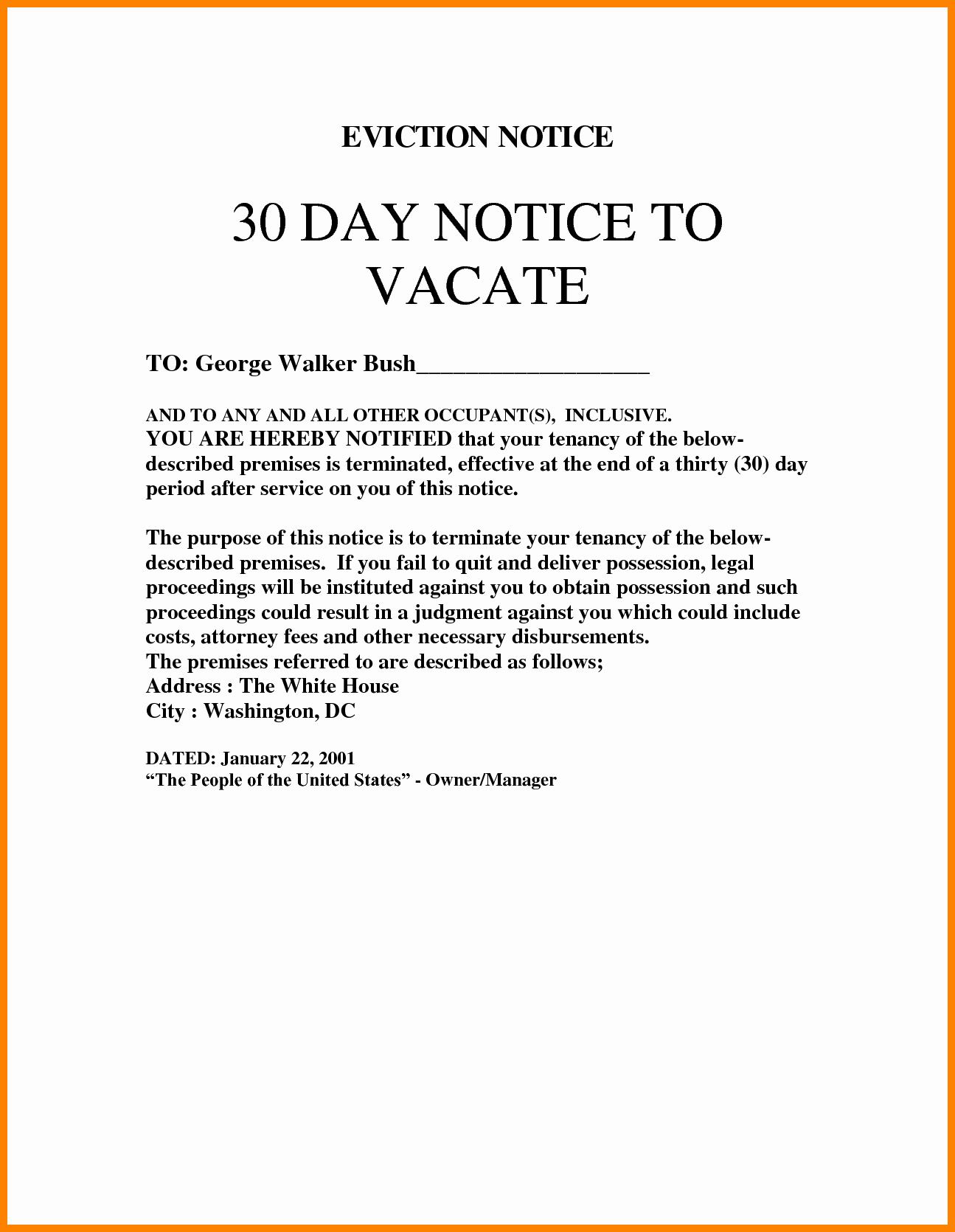 Eviction Notice Letter Template Fresh 30 Day Eviction Notice Template