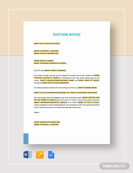 Eviction Notice Letter Template Fresh Free 10 Eviction Notice Examples & Samples In Pdf