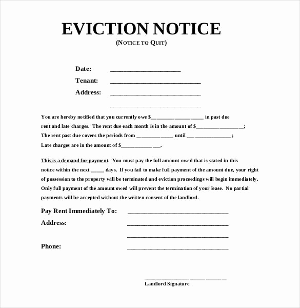Eviction Notice Letter Template Inspirational Eviction Notice Template
