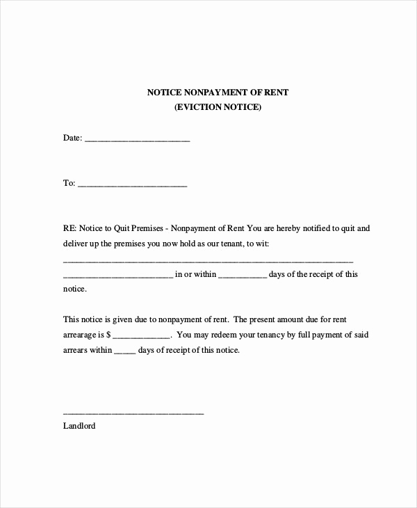 Eviction Notice Letter Template Inspirational Sample Eviction Notice for Nonpayment Rent