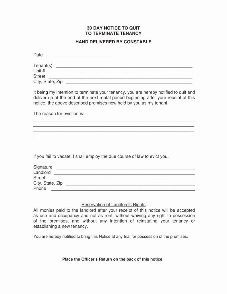 Eviction Notice Letter Template New Eviction Notice form