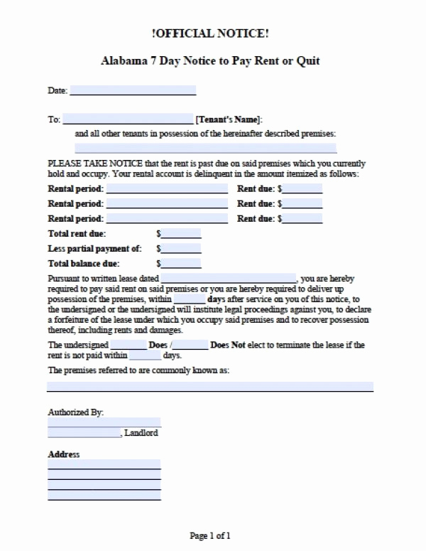 Eviction Notice Template Alabama Awesome Free Alabama 7 Day Notice to Pay or Quit