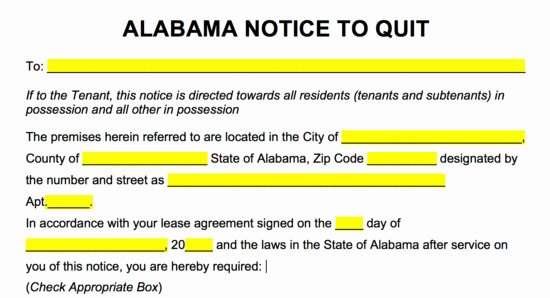 Eviction Notice Template Alabama Awesome Free Alabama Eviction Notice forms