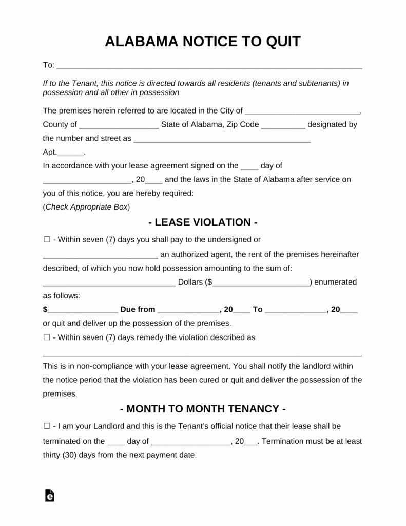 Eviction Notice Template Alabama Elegant Free Alabama Eviction Notice forms