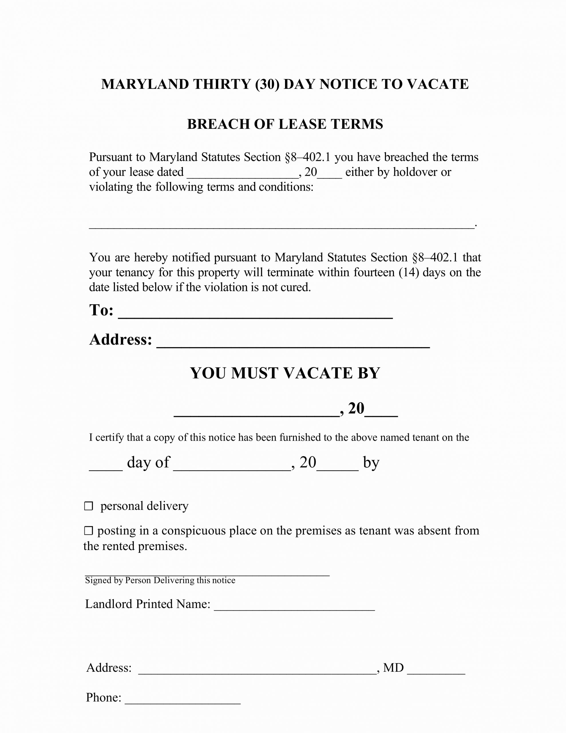 Eviction Notice Template Alabama Elegant Maryland 30 Day Notice to Quit form