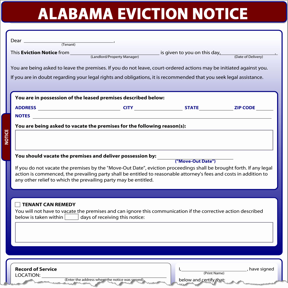 Eviction Notice Template Alabama Fresh Alabama Eviction Notice