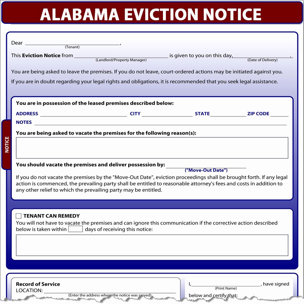 Eviction Notice Template Alabama Fresh Alabama Eviction Notice