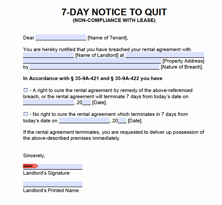 Eviction Notice Template Alabama Inspirational Free Alabama Eviction Notices 7 and 30 Day Notices to Quit