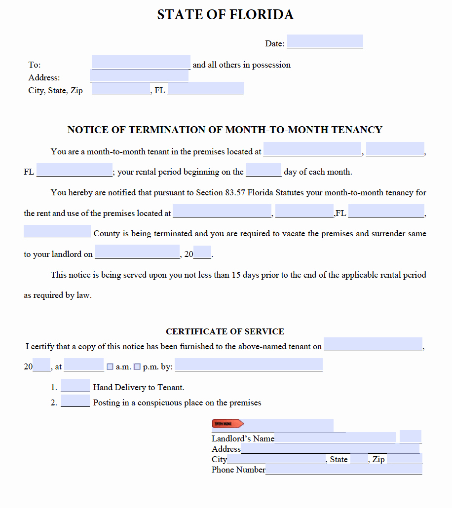 Eviction Notice Template Florida Luxury Free Florida Eviction Notice Templates