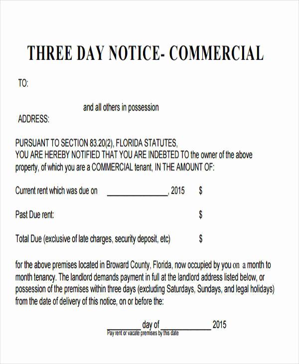 Eviction Notice Template Florida Unique Free 32 Eviction Notice Templates In Pdf