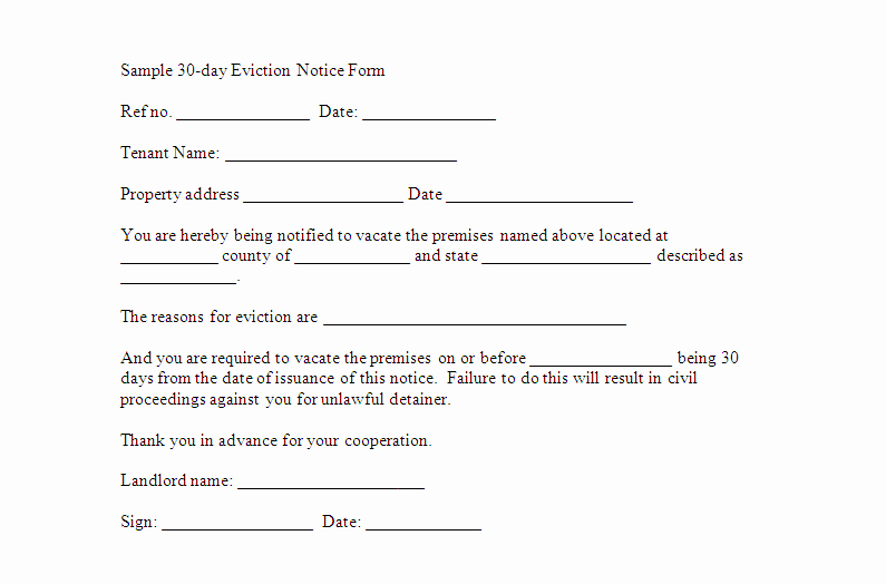 Eviction Notice Template Nc Awesome 30 Day Eviction Notice form