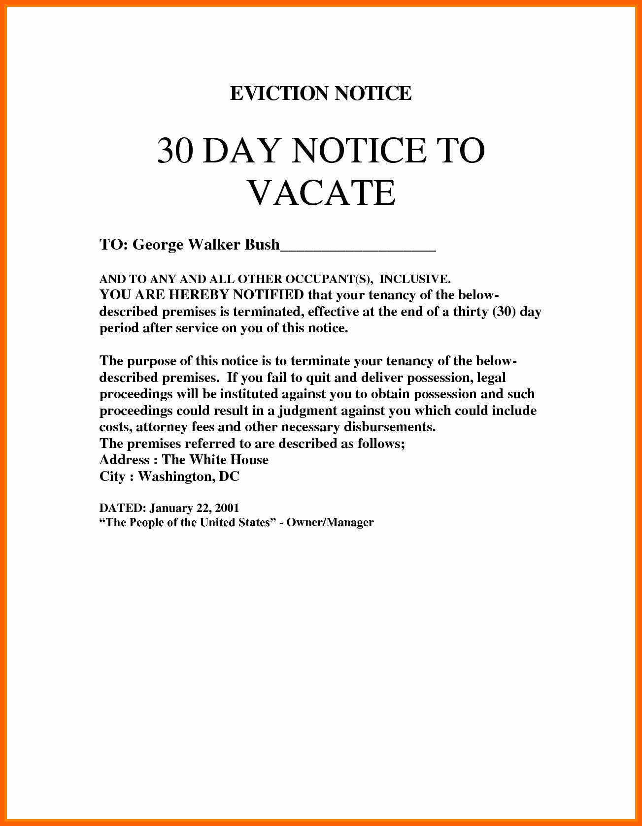 Eviction Notice Template Nc Beautiful 30 Day Eviction Notice Template