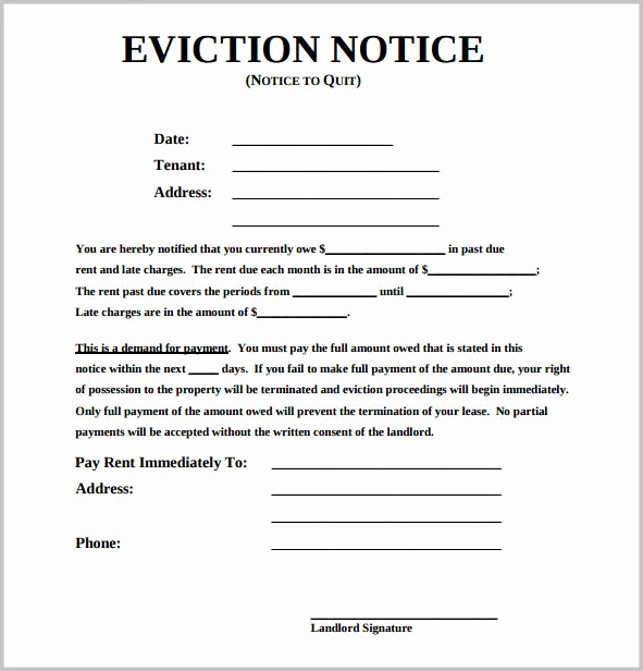Eviction Notice Template Nc Best Of Eviction Notice form
