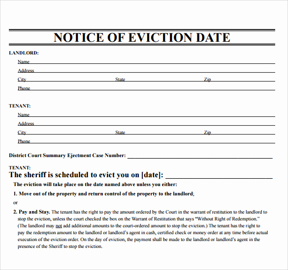 Eviction Notice Template Nc Lovely Free 38 Eviction Notice Templates In Pdf