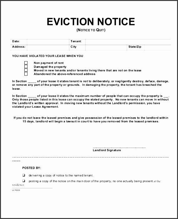 Eviction Notice Template Pdf Inspirational 6 Eviction Notice Templates Sampletemplatess