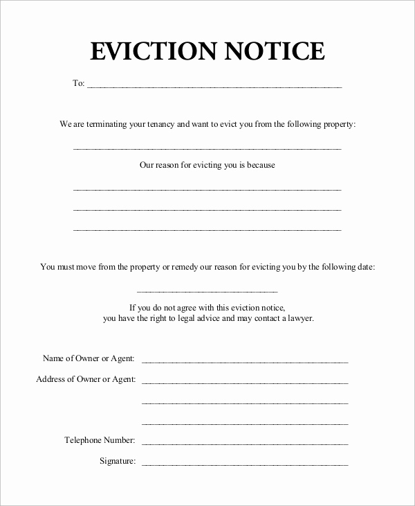 Eviction Notice Template Pdf Inspirational 8 Eviction Notice Samples Pdf Google Docs Ms Word