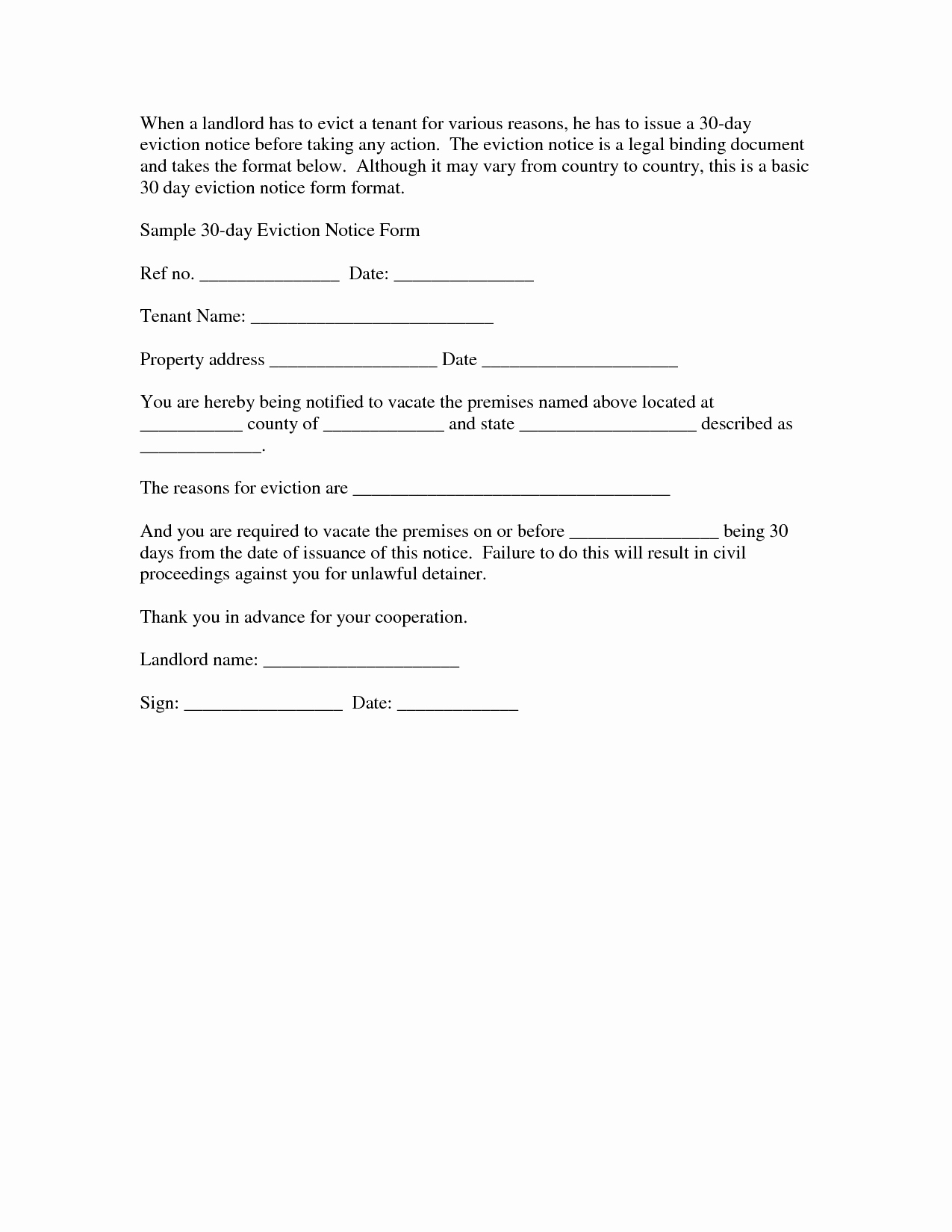 Eviction Notice Template Pdf Inspirational Notice Eviction Letter Template Seeabruzzo 30 Day