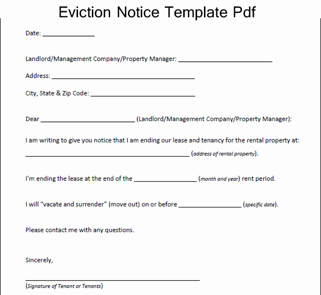 Eviction Notice Template Pdf Luxury How to Write An Eviction Letter Template – Excel About